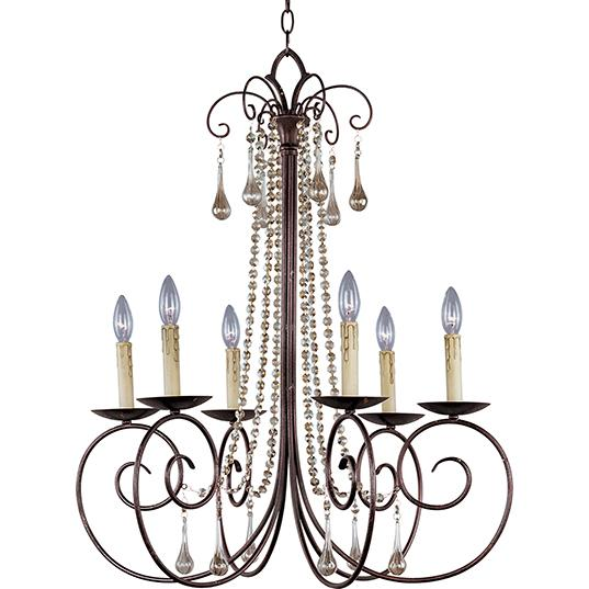 Hansen Lighting in Orem, Utah, United States, Maxim 22206UR, Adriana 6-Light Chandelier W/Crystals, Adriana