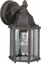 Forte 1742-01-28 - One Light Painted Rust Clear Beveled  Panels Glass Wall Lantern