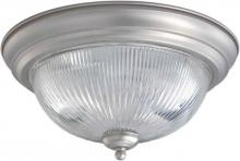 Forte 2041-02-55 - Two Light Brushed Nickel Clear Ribbed Glass Bowl Flush Mount