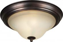 Forte 2530-02-32 - Two Light Antique Bronze Shaded Umber Glass Bowl Flush Mount