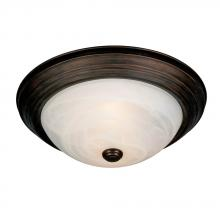 Golden 1260-15 RBZ - Three Light Rubbed Bronze Marbled Glass Bowl Flush Mount