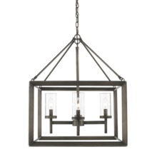 Golden 2073-4 GMT - 4 Light Chandelier (Gunmetal Bronze & Clear glass)
