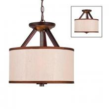 Golden 4090-SF MW - Three Light Mahogany Wood Brushed Sand Shade Drum Shade Pendant