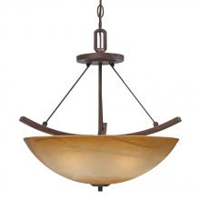 Golden 7158-SF RBZ - Three Light Rubbed Bronze Chiseled Antique Marble Glass Bowl Semi-Flush Mount
