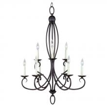 Sea Gull 31075-799 - Nine Light Black Up Chandelier