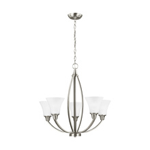 Sea Gull 3113205-962 - Metcalf Five Light Chandelier in Brushed Nickel with Satin Etched Glass