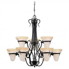Sea Gull 3212-185 - Nine Light Black Up Chandelier