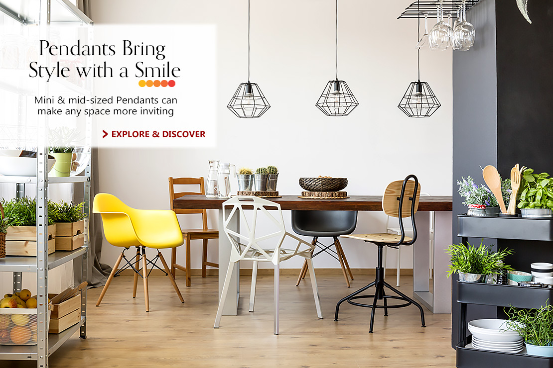 Pendants Bring Style with a Smile -- Mini & mid-sized Pendants can make any space more inviting. Explore & Discover